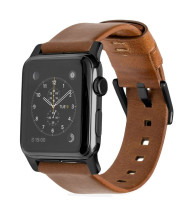 Horween Leather Strap for Apple Watch - Modern Build, Black Hardware