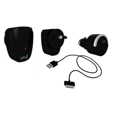 GOSH! Element PowerPack A/C adapter, Car charger & USB cable iPod, iPhone, iPad