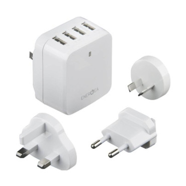 Energea TravelWorld 6.8, 4 USB Wall Charger-US/UK/EU/AU adapt 5V/6.8A