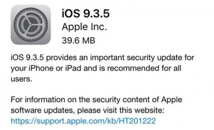 Update to iOS 9.3.5 NOW