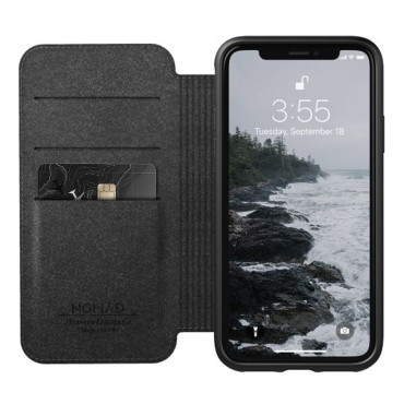 Nomad Horween Leather Rugged Folio for iPhone XS / X - Black