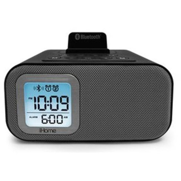 iHome Bluetooth Dual Alarm Clock with USB Charging and 3.5mm Line-In