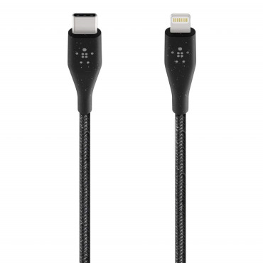 Belkin BOOSTCHARGE DuraTek USB-C Cable with Lightning Connector and Strap - Black