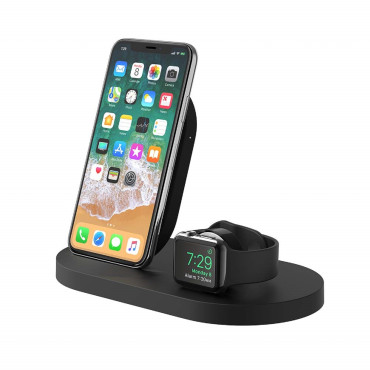 Belkin BOOSTUP Wireless Charging Dock for iPhone/Apple Watch/USB-A port - Black