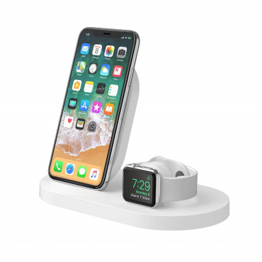 Belkin BOOSTUP Wireless Charging Dock for iPhone/Apple Watch/USB-A port - White