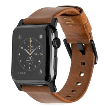 Horween Modern Leather Strap for Apple Watch 38mm - Rustic Brown (Black hardware)