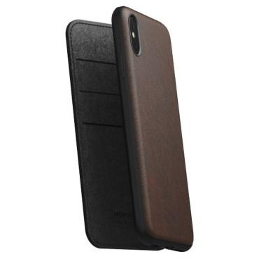 Nomad Horween Leather Rugged Folio for iPhone XS Max - Rustic Brown