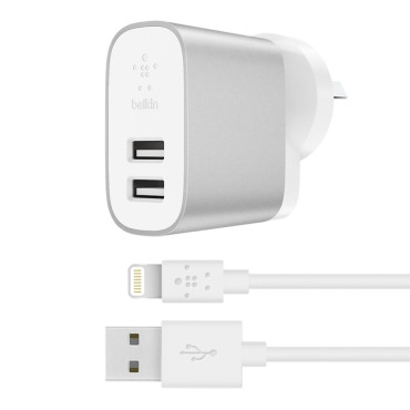 Belkin BOOSTCHARGE 2-Port Home Charger with Lightning to USB-A Cable - Silver
