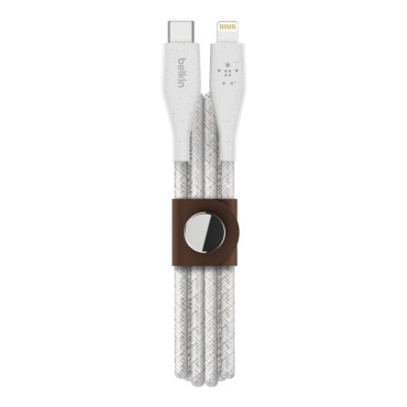 Belkin BOOSTCHARGE DuraTek USB-C Cable with Lightning Connector and Strap - White