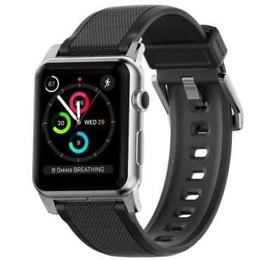 Nomad Silicone Strap for Apple Watch - Silver hardware