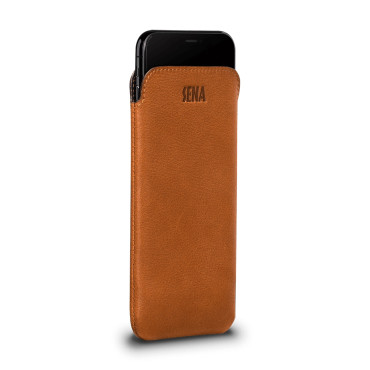Ultraslim Classic Leather Sleeve Pouch for iPhone Xr - Tan