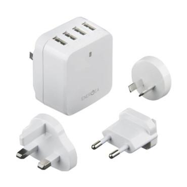 Energea TravelWorld 6.8, 4 USB Wall Charger-US/UK/EU/AU adapt 5V/6.8A