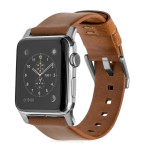 Horween Leather Strap for Apple Watch - Modern Build, Silver Hardware