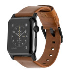 Horween Leather Strap for Apple Watch 42mm - Modern Build, Black Hardware